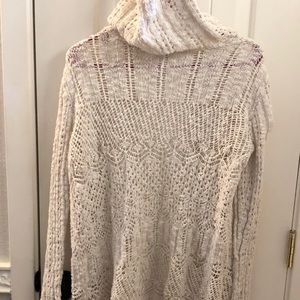 Mossimo Supply Co. Sweaters - Cream Crocheted Hooded Cardigan
